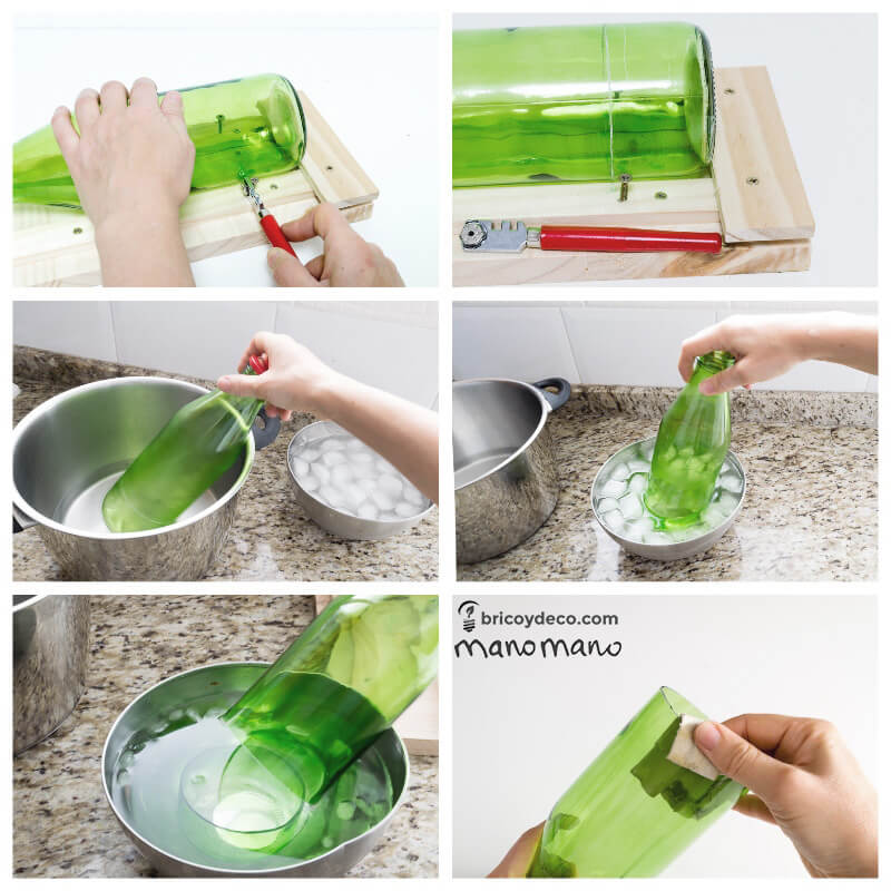 Glass Bottle DIY Upcycled Ceiling Light craft recycling cutting cut bottles do it yourself diy manomano mano the handy cutting hot cold water ice