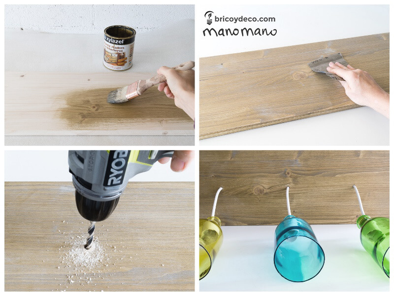 Glass Bottle DIY Upcycled Ceiling Light craft recycling cutting cut bottles do it yourself diy manomano mano the handy painting wood stain drill