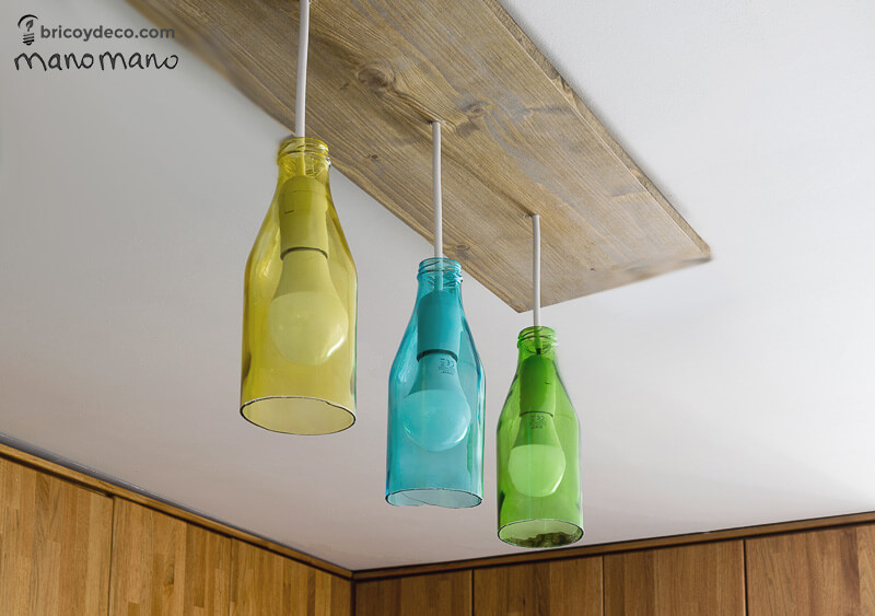 Glass Bottle DIY Upcycled Ceiling Light craft recycling cutting cut bottles do it yourself diy manomano mano the handy