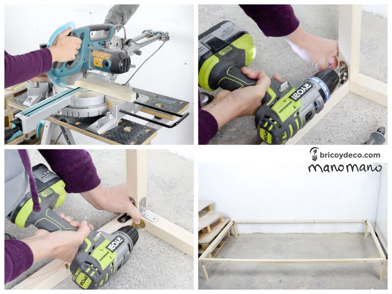 pallet bed wood frame making a diy the handy mano manomano furniture mitre saw drill