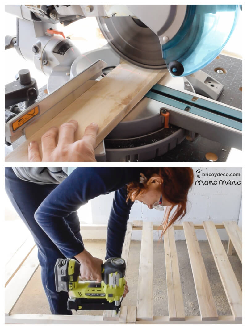 pallet bed wood frame making a diy the handy mano manomano furniture saw
